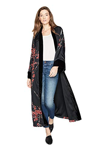 KIM+ONO Women's Kimono Wrap Long - Watercolor Floral, Cherry Blossom & Crane- Black