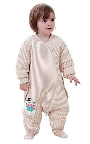 Chilsuessy Baby Schlafsack mit füßen Kinder Winter Schlafsack aus GOTS Bio Baumwolle Schlafsack mit abnehmbaren Aermeln Schlafanzug mit Beinen,Gestickt Schneemann, Braun, 100/Koerpergroesse 110-120cm