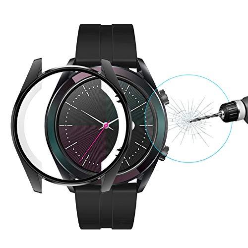 Cellphoneparts BZN Smart Watch Case per Huawei Watch GT Elegante 42mm Cat-Prince 2 in 1 Copertura Completa Electroplate TPU Case + 0.2mm 9h 2.15D Film in Vetro temperato Bordo Curvo (Color : Black)