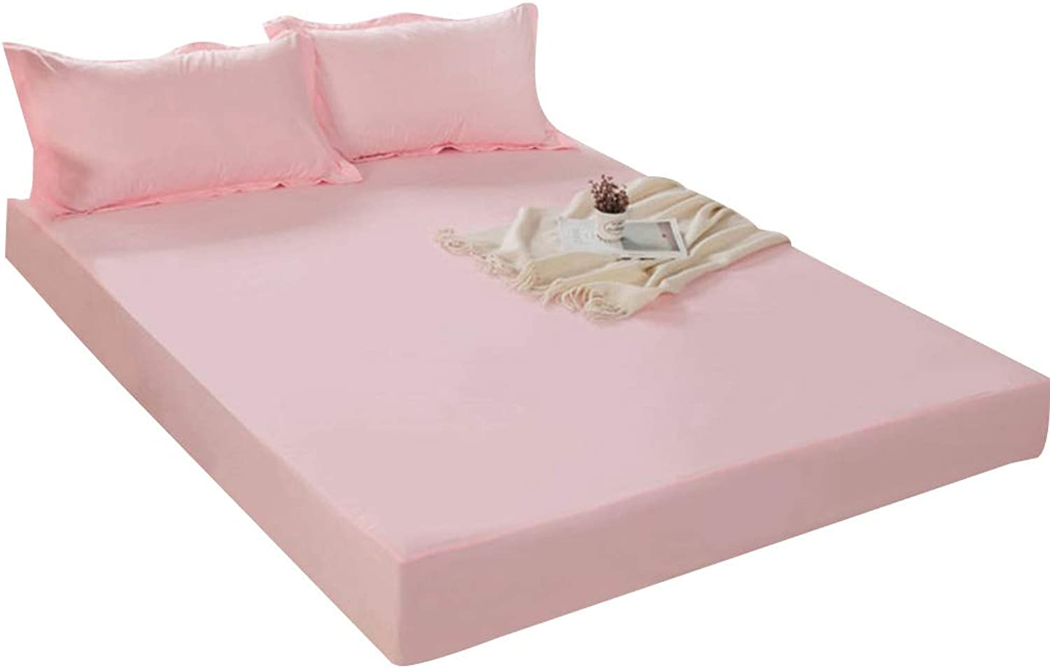 ZHAOHUI Mattress Predector Polyester Waterproof Hypoallergenic Breathable Non-Slip Noiseless Soft Skin-Friendly, 3 colors, 3 Sizes (color   Pink, Size   180X200cm)
