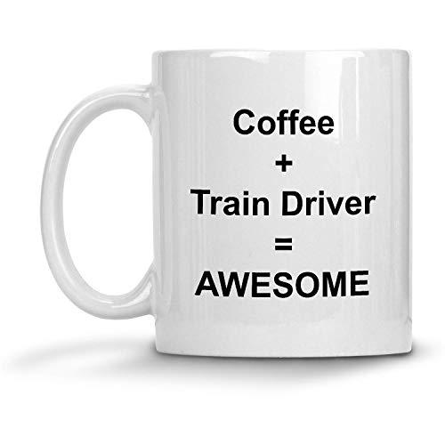 N\A Café + Conductor de Tren = Taza Impresionante - Taza de café con Leche de 11 oz