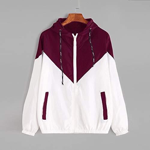 aihihe Zip Up Hoodie Women Lightweight Color Block Sweatshirts Outdoor Drawstring Hooded Jersey Sweatshirt Jacket Red