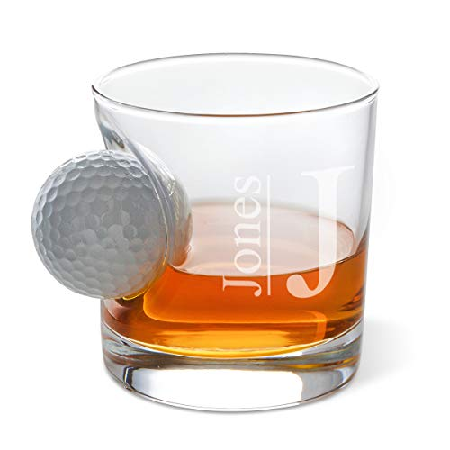 Personalized Whiskey Glass (Modern Design) - Old Fashioned Lowball Glass with Real Golf Ball Embedded - Custom Gift for Men, Perfect Drinking Accessory for Home Bar