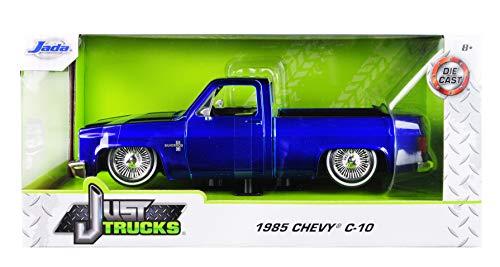1985 Chevrolet Silverado C-10 Pickup Truck Custom Low Rider Wire Wheels Candy Blue Just Trucks 1/24 Diecast Model Car by Jada 30287 MJ