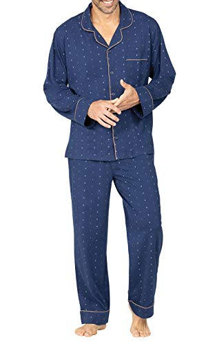 PajamaGram Men's Pajamas Sets Cotton - Men Pajamas Sets, Navy, X-Large