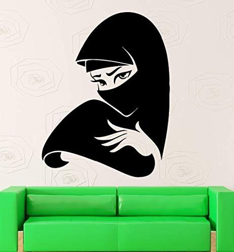 Abnehmbarer Vinyl-Wandaufkleber-Aufkleber Schönes Mädchen Hijab Arabischer Islam Muslimische Frauen-Aufkleber Hauptdekoration Tapete 42 * 55Cm