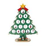 Árbol de Navidad Decoración 3D DIY Miniatura de madera Adornos de mesa de árbol de Navidad Escritorio de árbol de Navidad con 10 piezas de campana y 15 piezas de adornos de Navidad decoración navideña