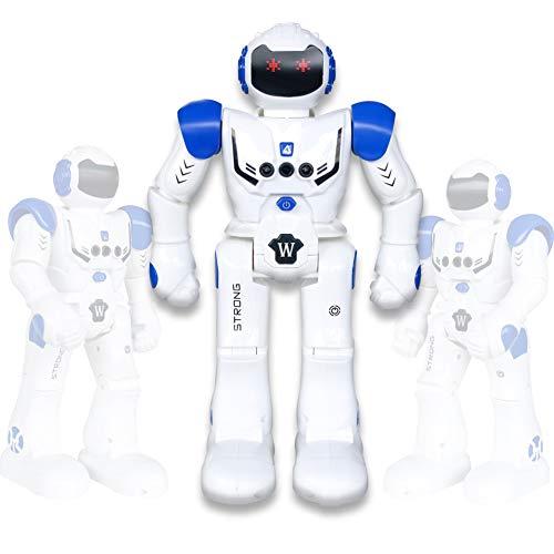 Vindany Intelligente RC Roboter Spielzeug Weihnachts-Geburtstagsgeschenk Fernbedienung Geste Steuerung Roboter Kit Programmierung, Singen und Tanzen wiederaufladbare Roboter für Kinder (Blau)