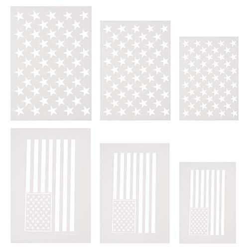 WANDIC Schablone mit amerikanischer Flagge, 6 Stück, 50 Sterne, Schablone & 2-in-1 USA-Flaggen-Schablone zum Malen auf Holz, Stoff, Papier, Airbrush, Wände, Kunst, 3 Größen