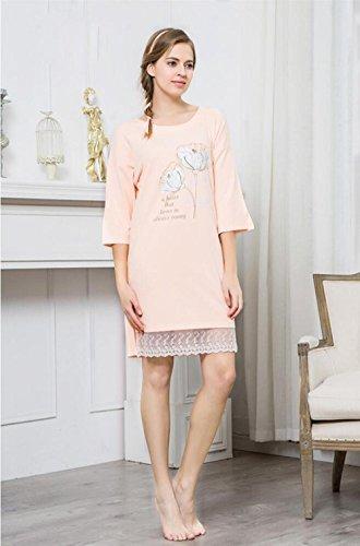 QX Manica Lunga Cotone Camicia da Notte Vestaglia Autunno Nightwear Ultima Donna con Bordo in Pizzo, Warm Orange, XXL (170/92a)