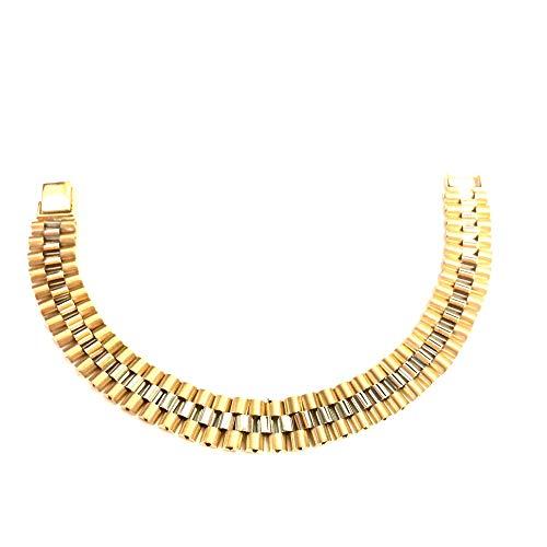 Pulsera Rolex Link de oro amarillo y blanco, 8.5 pulgadas
