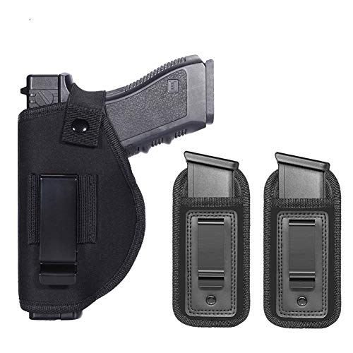 Universal Right Left IWB Holster for Concealed Carry | Inside The Waistband | for All Firearms S&W M&P Shield Glock 17 19 23 25 26 27 29 30 32 33 38 42 43 Springfield XD X | with Extra Magazine Pouch