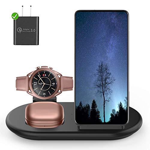 Kabelloses Ladegerät, 3 in 1 Induktive Ladestation Kompatibel mit Samsung Galaxy S20 Ultra/S20/S10/S9, iPhone 12/SE/11 Pro Max/XS, Samsung Galaxy Watch 3/1, Galaxy Watch Active 3/2/1/Air Pods(Schwarz)