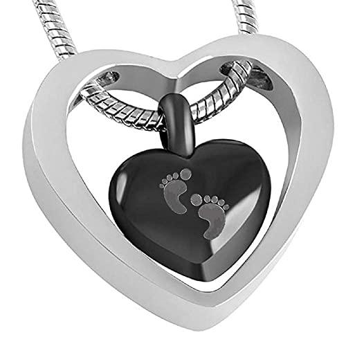 AMOZ Nj - Joyas Personalizadas para Creión de Pies de Bebé, Medallones de Doble Corazón de Acero Inoxidable, Collar de Urna de Creión Conmemorativa, Joyería de Recuerdo para Cenizas con Juego de Kit