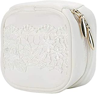 Lace Ins Style Jewelry Storage Box Travel Earrings Earrings Necklace Jewelry Portable Small Box Storage Bag (Color : White)
