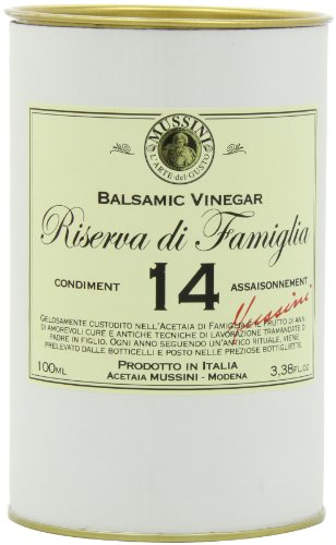 Mussini 14 Year Balsamic Vinegar, Riserva di Famiglia, 3.38-Ounce Glass Bottle