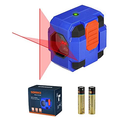 Niveau Laser 15M, SORAKO Auto-nivellement Laser Horizontal et Verticale, traceurs de ligne laser,Laser Rouge Brillant et idéal pour la peinture murale, montage de carreaux (2 piles inclused)