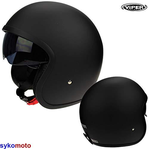 Casco de la Motocicleta Jet Casco Cascos Abiertos VIPER RS-V06 Casco de Moto Con Visera Nuevos Colores (L, Matt Negro)