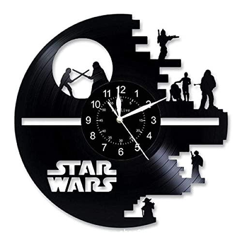 SGTHYJ Reloj de Pared Disco de Vinilo Reloj Retro-Star Wars Reloj de Pared para Niños Reloj de Pared Hecho A Mano Reloj de Pared Vintage Decoraciones para el Hogar-Sin Led
