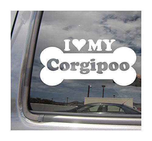 Lplpol I Heart Love My Corgipoo Dog Bone Pembroke Welsh Corgi Poodle Designer Mixto Hybrid Raza Coches Camiones Casco de Surfboard Auto Automóvil Craft Laptop Vinilo adhesivo de pared para ventana de tienda 6'