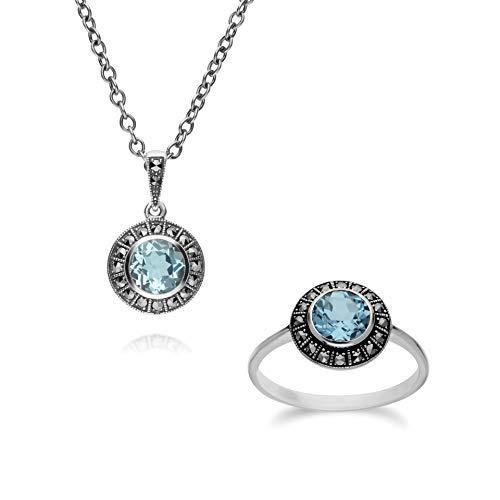 Gemondo in argento Sterling, con topazio blu e marcasite a grappolo & 45cm collana set