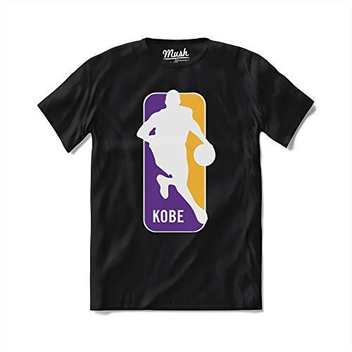 MUSH T-Shirt Kobe Logo NBA - Basket - 100% Cotone Organico, Medium Uomo, Nero