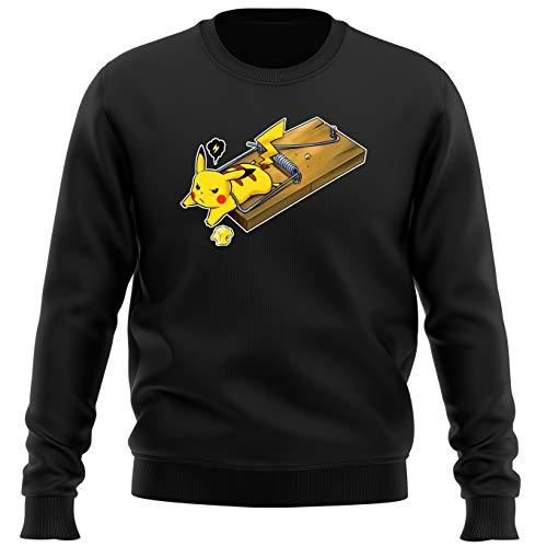 Okiwoki Pull Noir Parodie Pokémon - Pikachu - Piège à Souris ! (Sweatshirt de qualité Premium de Taille XL - imprimé en France)
