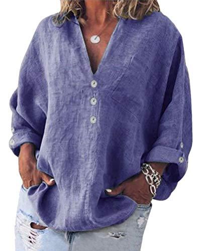 ORANDESIGNE Camicette Donna Manica Lunga Tshirt Tops Camicia Magliette con Scollo a V Slim Fit Casual Bottone Camicia Moda Manica 3/4 T-Shirt Blusa Blu 38