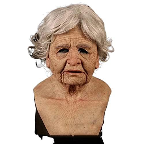 I3CKIZCE - Máscara de látex, realidad de horror, máscara de Halloween, máscara de zombi, máscara de monstruo, máscara de humana, mascarilla espantosa, realista, para adulto (abuela, 33,3 x 33,3 cm)