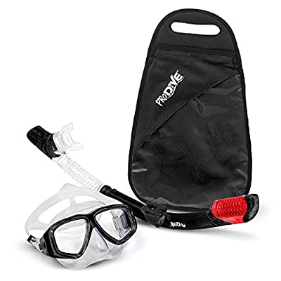 PRODIVE Premium Dry Top Snorkel Set - Impact Resistant Tempered Glass Diving Mask, Watertight and Anti-Fog Lens for Best Vision, Easy Adjustable Strap, Waterproof Gear Bag Included (Black)