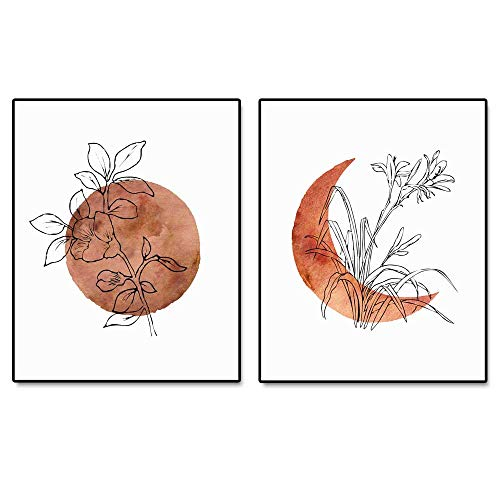 Terracotta Sun and Moon Print, Flower Sun, Minimal Wall Art, Boho Decor, Abstract Moon, Flower Line Print, Sunset Art, Set of 2 Prints - 8x10 inch - No Frame
