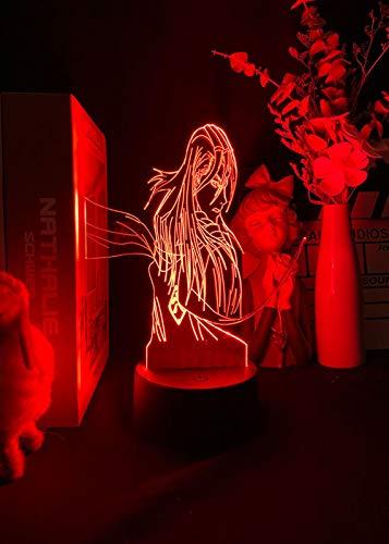 Lámpara 3D, luz nocturna LED 3D, con efecto de ilusión, anime Bleach Figure Night Light para decoración de habitaciones, regalo para los fans del pastel