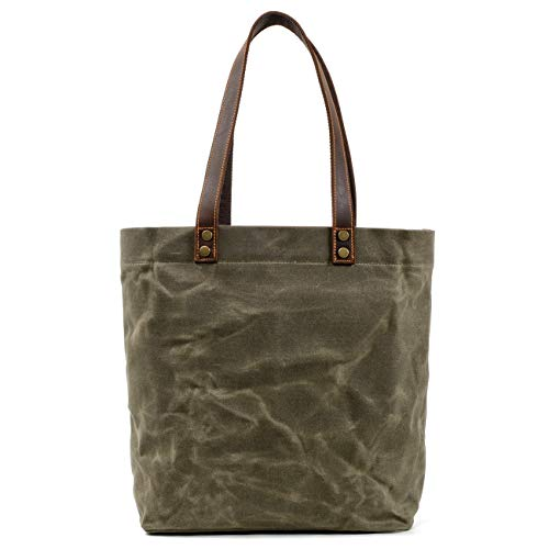 Jeelow Waxed Canvas Shoulder Tote Bag Handbag For Men And Women Double Handles Vintage Style (Medium Waxed Green)