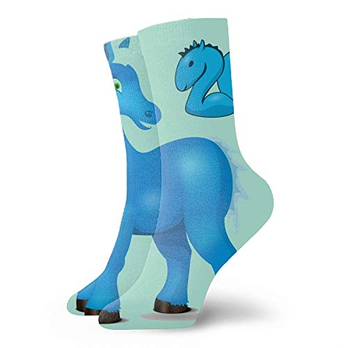 GYUB Calcetines Digital printing Cute Blue Horse Wishes A