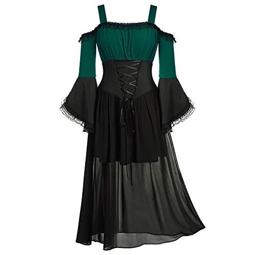 Xmiral Jacke Damen Spitze Spleiß Unregelmäßiger Saum Schnürung Bluse Retro Mantel Kleid 1950s Mittelalter Rollenspiel Tops Große Größe(G Grün,3XL)