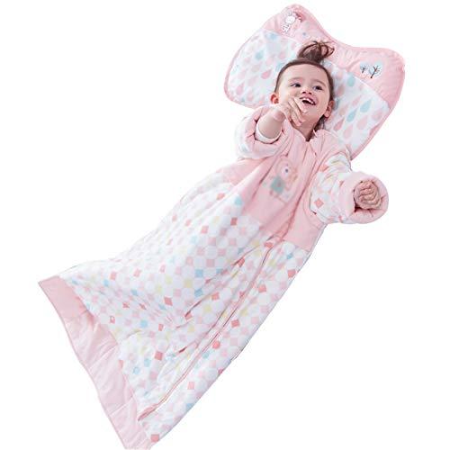 LUO Sacos de Dormir Saco de Dormir del bebé con Mangas Desmontables, Manta de bebé, Cuatro Estaciones Puede Usar algodón Acolchado, edredón Patada a Prueba de bebé (Color : Pink)