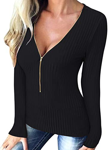 ACHIOOWA Shirt Femme col v Sexy t Shirts Femme Manches Longues Top Femme Sexy Blouse Femme Haut Femme Sexy col V soirée,A01418noir,L