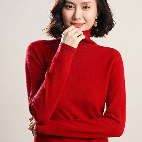 CFCYS Jerséis para Mujer,Ladies Plain Knitted Lightweight Slim Jumper Womens Long Sleeve Turtleneck Sweater Pullover Autumn Winter Stretchy Tops Jumpers,Red,M
