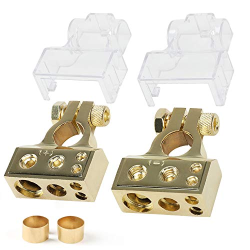 Car Battery Terminal Connectors Kit - JOYHO 0 4 8 10 AWG Car Battery Terminals with 2 Clear Covers Shims for Car, Marine, Truck, Boat, Motorcycle, Positive and Negative (Pair)