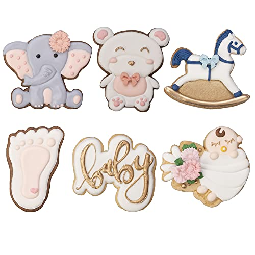Baby Shower Cookie Cutter 6 Pack 3D Stampers Molds DIY Fondant Decorating for Kids' Birthday Party Kitchen Tools, Making Rocking Horse Baby Face Letter Teddy Bear Elephant Foot