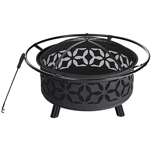 CRZJ 29' Fire Pit Large Steel Patio Fireplace Cutouts Pattern, Poker & Spark Screen Included, Outdoor Fire Pits, Black