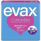 Evax Cottonlike Compresas Normal Plus Con Alas, 16 Unidades, 100% Limpia, 0% Olor