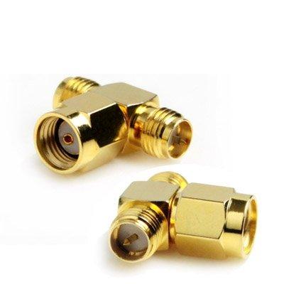 Elektronica-producten Computer Adapters RP-SMA Male naar 2 RP-SMA Female Adapter (T Type), Vergulde wiFi-antenne