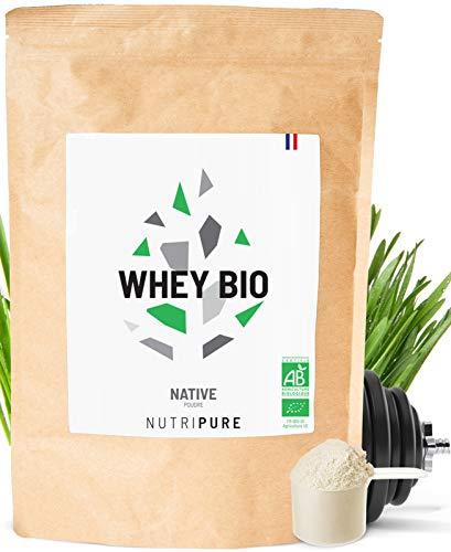 WHEY NATIVE BIO • 80% de protéines - 23% de BCAA - 49% d'EAA • Protéines Native de Lait Bio • 1 KG • Goût neutre • Contient du lactose • 6 Arômes naturels au choix • Made in France • NUTRIPURE