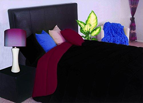 ForenTex - Edredón nórdico Bicolor de 400 g, (L-Negro Granate), para Cama de 135 cm, 220 x 260 cm, Relleno de 400 g de Fibra Hueca Virgen siliconada