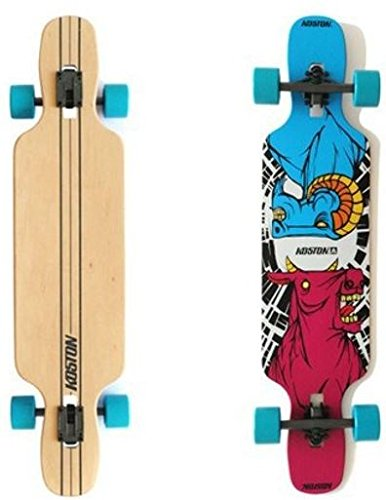 Koston Longboard Drop Through Komplettboard Cruiser Clash 41.0 x 9.5 inch Blue Wheels - Profi Dropthrough Longboard Drop Thru Carver