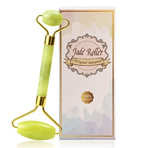 Fiezkaa Jade Roller for Face, Facial Massager for Anti Aging, Beauty Face Roller Skin Care, Natural Jade Stone Skin Roller for Face, Eyes, Neck and Body - Relieve Fine Lines Wrinkles Dark Circles