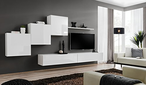 all4all Wohnwand mit Hochglanz TV Board Anbauwand Schrankwand Fernsehwand Wohnzimmerset Lowboard Kleine Wohnwand Fernsehschrank TV Lowboard Weiß Schwarz Grau Wotan SW 10 (Weiß - Pinko)