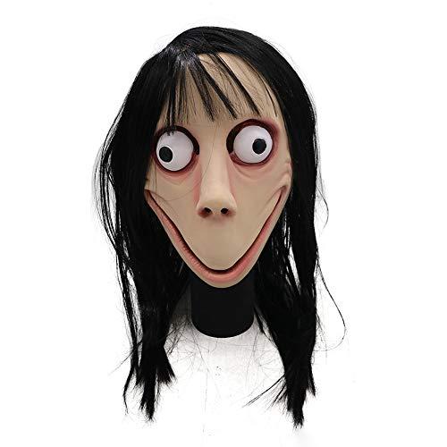 KKPLZZ Momo Scary Mask , Momo Scary Mask mit Langen Haaren Halloween Realistic Horror Mask Halloween Cosplay Mask