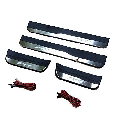 Aplicar para adecuado para Honda FIT 2014-19 con protectores de umbral de puerta de acero inoxidable ligero,protector de placa de desgaste de umbral de puerta,accesorio de decoración de estilo 4piezas
